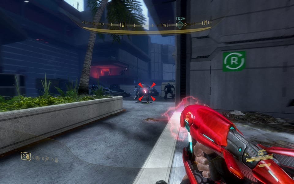 """""""Screenshot of Halo 3: ODST, running into a brute pack in an alley"""""""