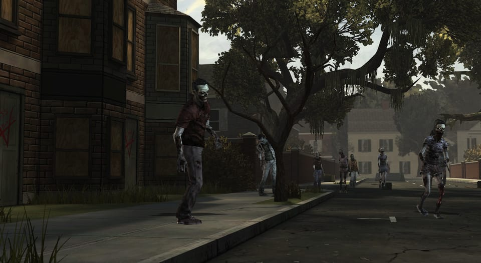 Screenshot of zombies walking down a street.