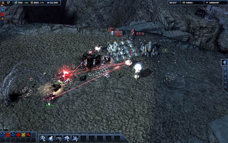 Screenshot of Supreme Commander 2, showing an army destroying an enemy base