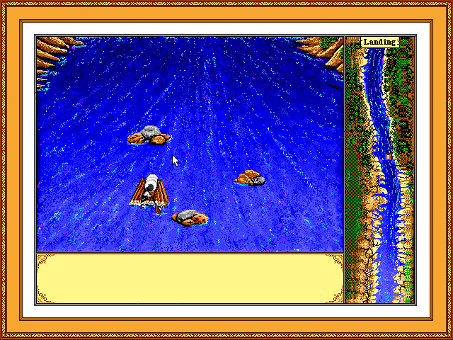 Screenshot of rafting down the river at the end of the trail.