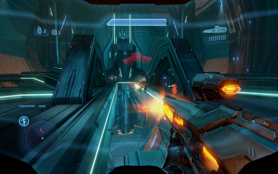 Screenshot of Halo 4, showing some Promethean war dogs.