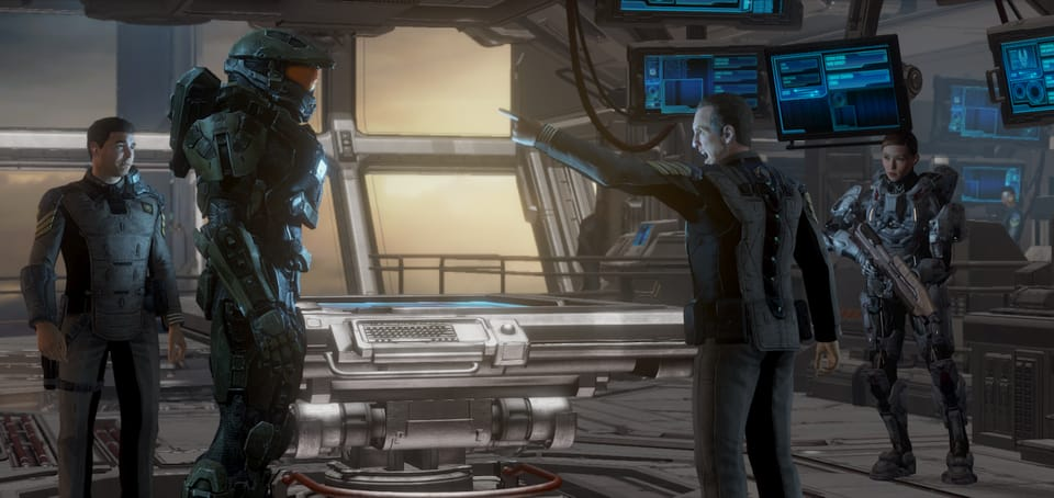 Screenshot of a ship captain yelling at Master Chief