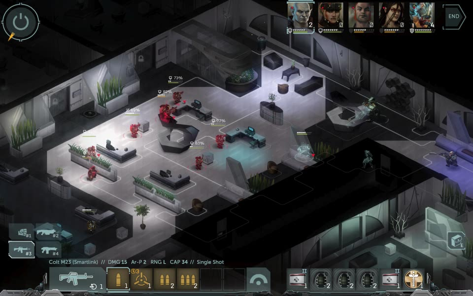 Screenshot of Shadowrun: Dragonfall, showing a shootout with many chest high walls.