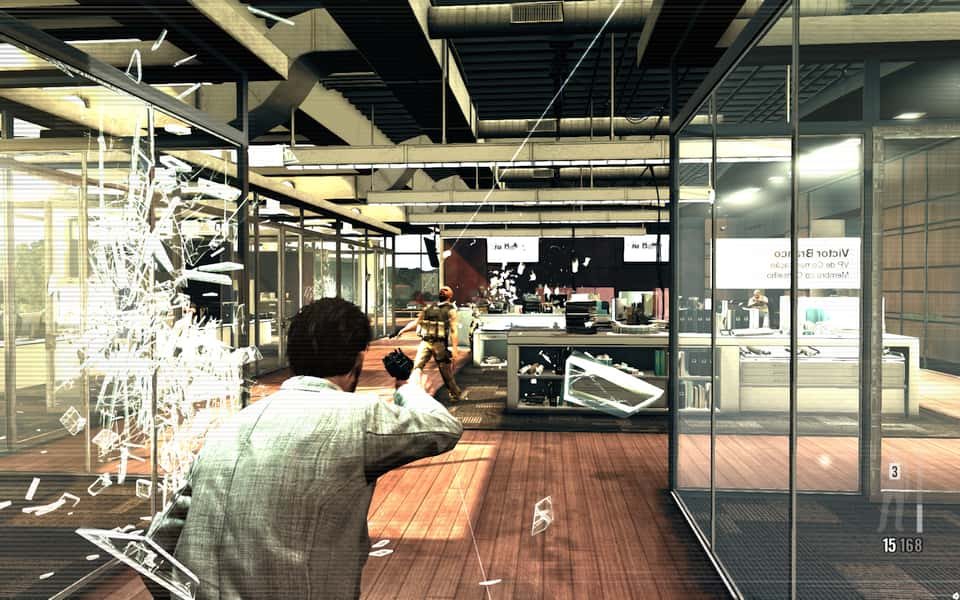 Screenshot of bullet time in Max Payne 3