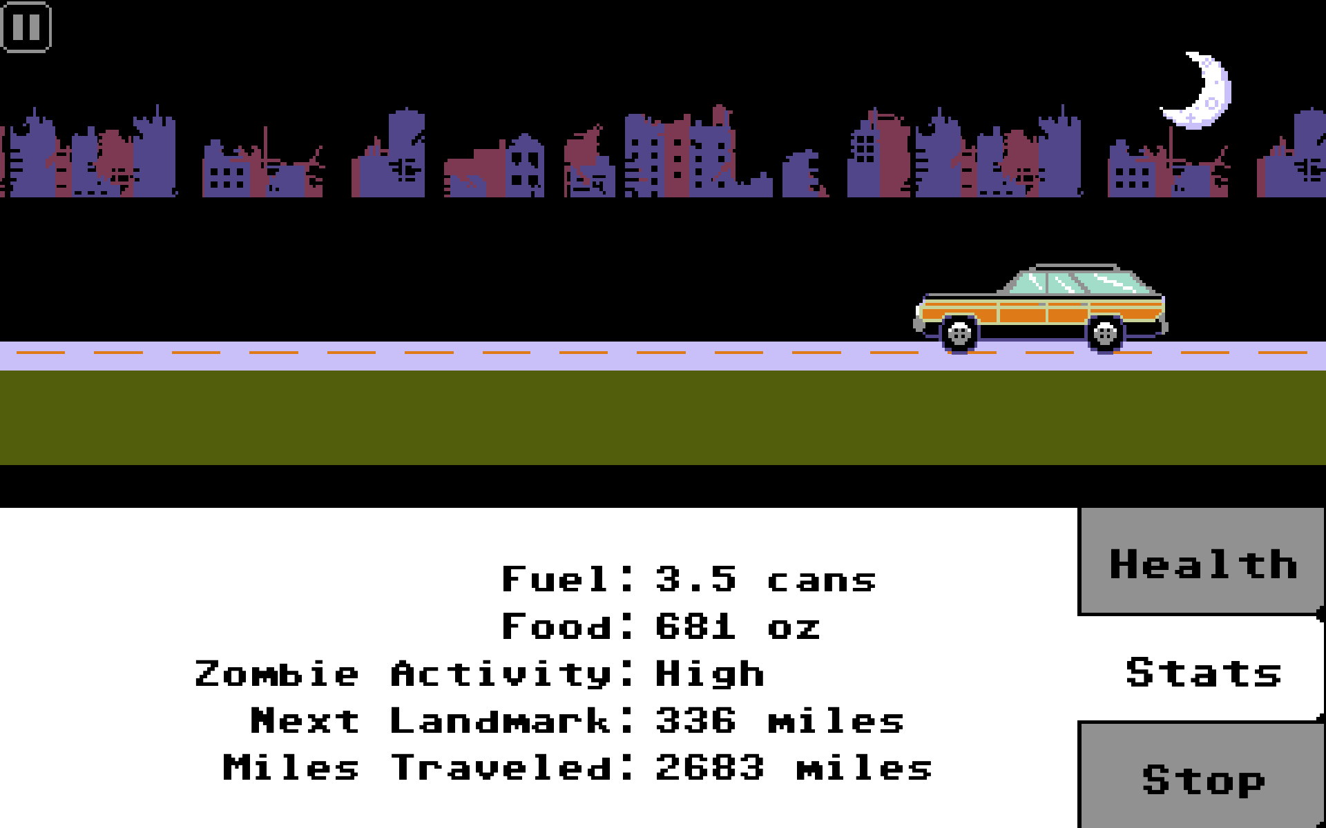 Screenshot of a station wagon going down the road at night.