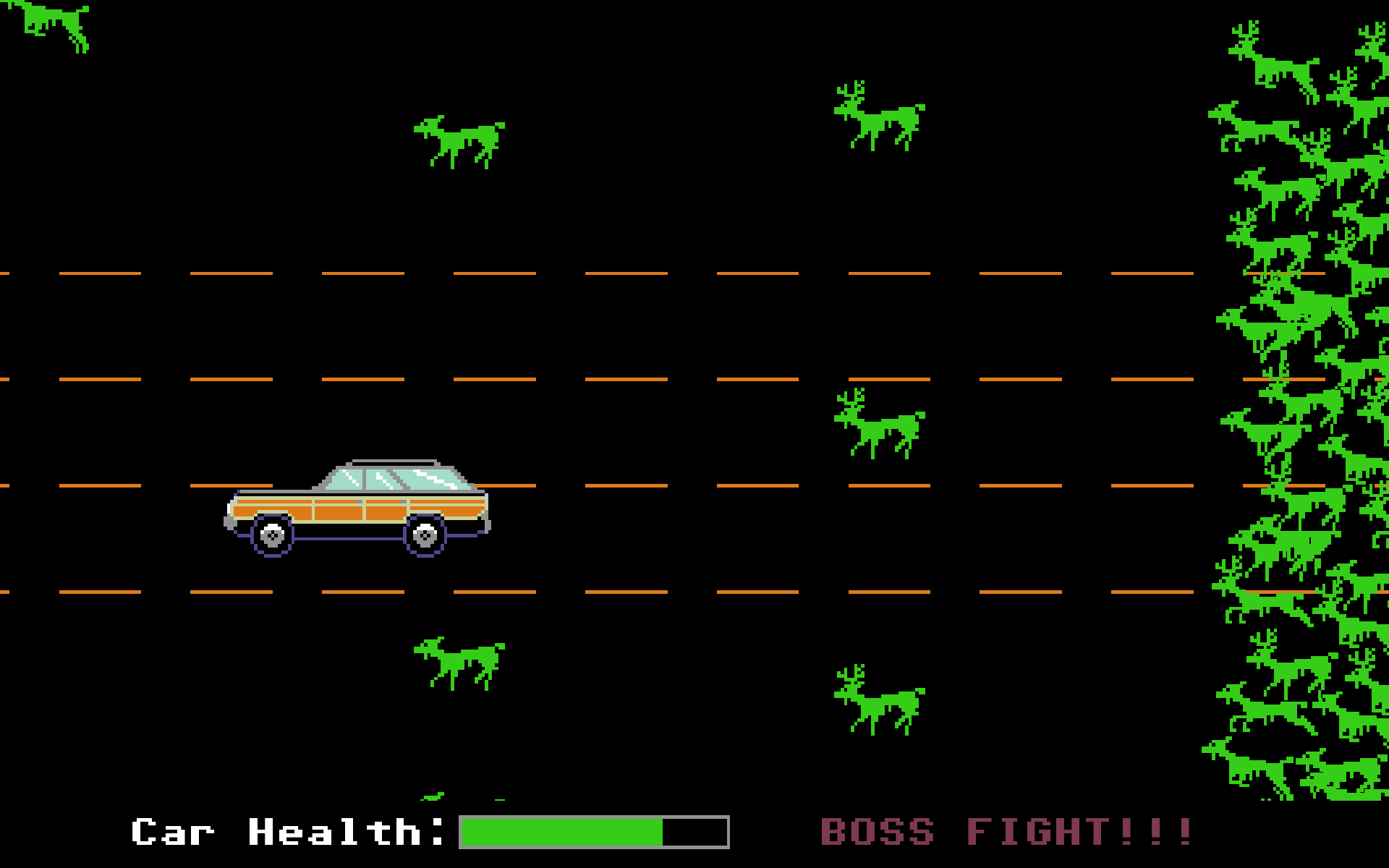 Screenshot of the car getting chased by a horde of zombie animals.