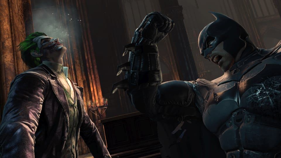 Screenshot of Batman beating up Joker.