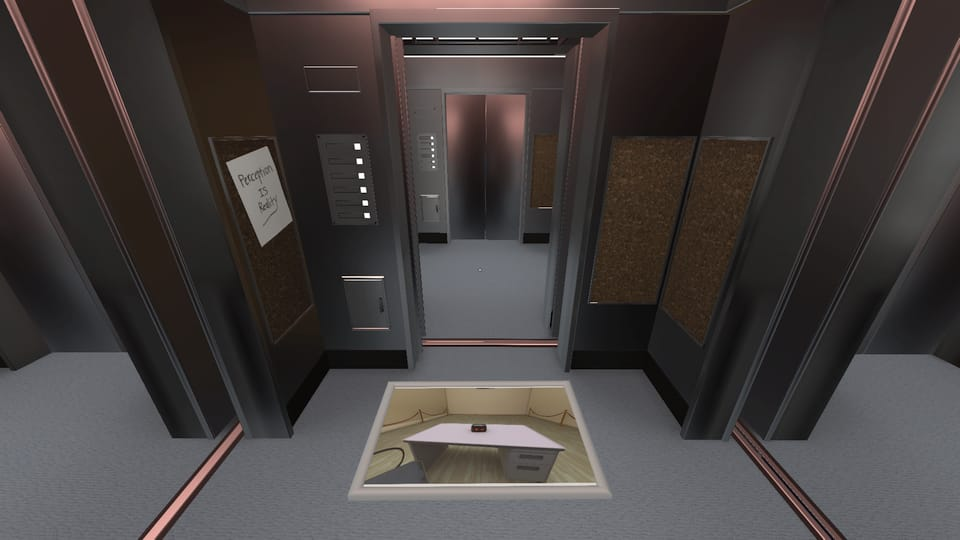 Screenshot of an elevator opening to another elevator, infinitely