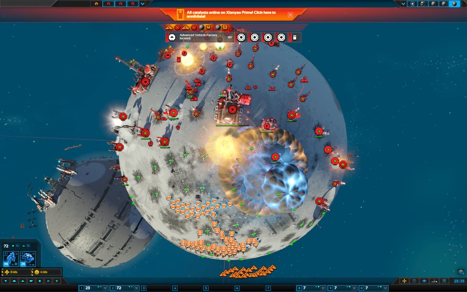 Screenshot of Planetary Annihilation: Titans, with a commander exploding and another planet floating by in the background.
