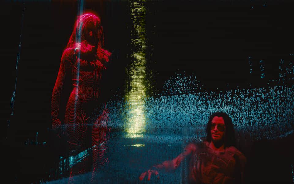 Screenshot of Keanu's character in the matrix.